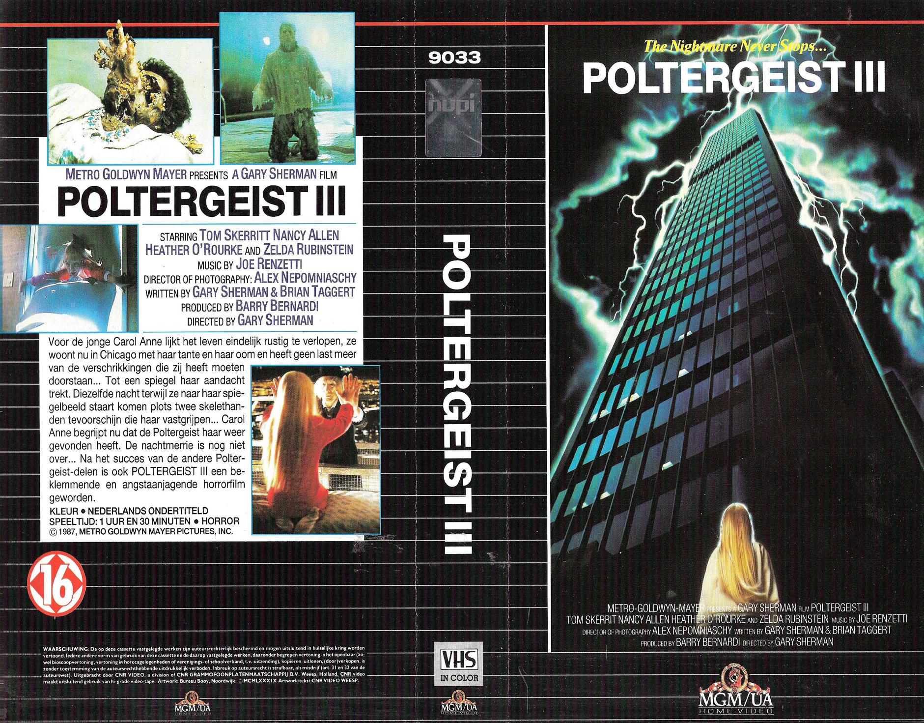 POLTERGEIST 3 VHS COVER, VHS COVERS